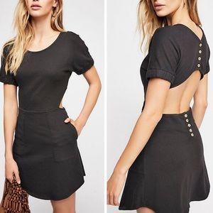Free People My Darling Mini Dress Black Open Back